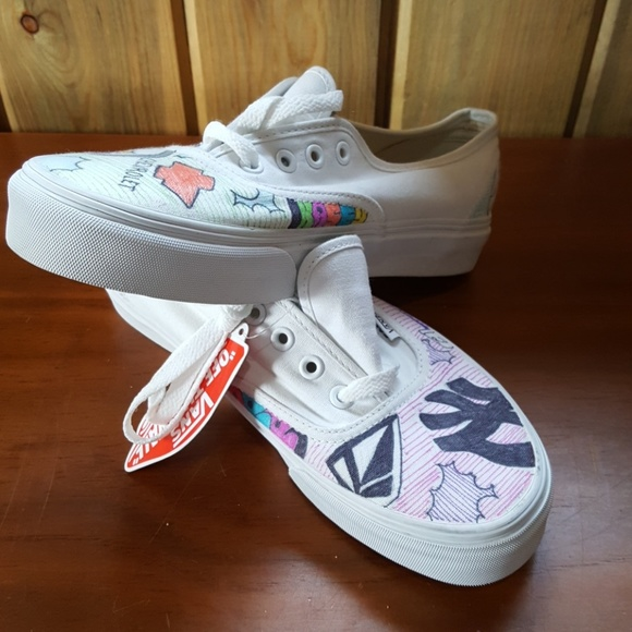 Custom VAN'S Off the wall white shoes 7.5